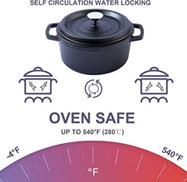 HOOEMD 3-Quart Nonstick Enameled Cast Iron Dutch Oven Pot with Lid, 8″ wide Small Enamel Cocotte for 2-3 People Bread Baking