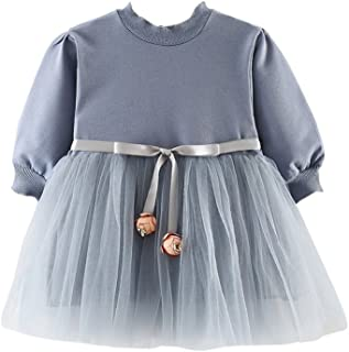 Weixinbuy Kids Baby Girls Long Sleeve Flower Bowknot Mesh Patchwork Gown Princess Party Dress