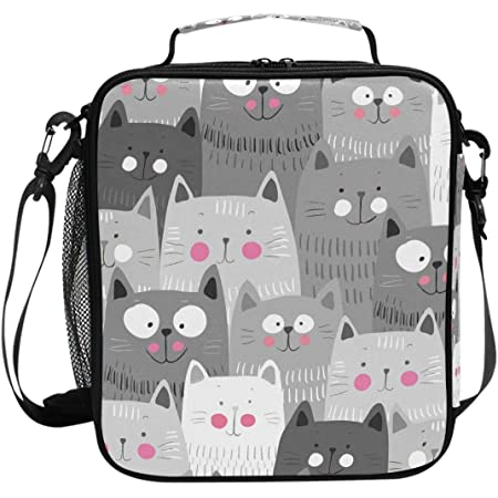 Cat Pattern Lunch Box Cats Insulated Lunch Bag Cute Funny Kitty Kitten Reusable Cooler Meal Prep Bags Lunch Tote with Shoulder Strap for Office Adult