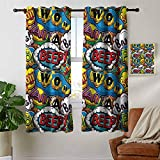 Blackout Curtains Superhero,Comics Speech Bubbles Beep Wow with Vivid Old Effects Boys Supernatural Print,Multicolor,for Bedroom,Nursery,Living Room 42'x54'