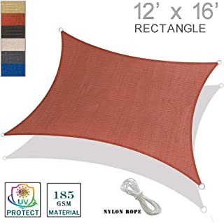 SUNNY GUARD 12' x 16' Terra Rectangle Sun Shade Sail UV Block for Outdoor Patio Garden
