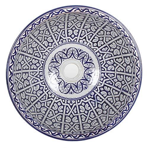 Casa Moro Mediterrane Keramik-Waschbecken Fes96 rund Ø 40 cm bunt Höhe 18 cm | Marokkanische Handwaschbecken für Bad Waschtisch Gäste-WC | Kunsthandwerk aus Marokko | WB40306
