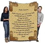 The Lord's Prayer in Spanish - Padre Nuestro - Cotton Woven Blanket Throw - Made in The USA (72x54)