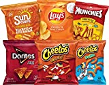 Includes 40 single serve bags 6 flavors to choose from: (8) Doritos nacho cheese flavored tortilla chips, (8) Cheetos crunchy, (8) Cheetos puffs, (6) Sunchips harvest cheddar, (6) lays cheddar & sour cream, and (4) munchies snack mix cheese fix Easy ...