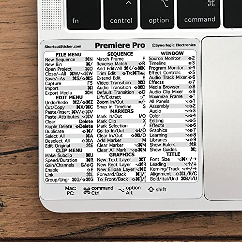 """SYNERLOGIC Adobe Premiere Pro Quick Reference Keyboard Guide Shortcut Sticker, Laminated Vinyl, Compatible with Any MacBook or PC, Size 3.25""""x3.25"""""""