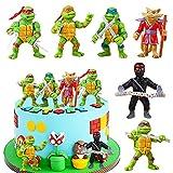 Décoration de Gâteau Tortues Ninja 6 PCS Hilloly Anime Personnage Modèle Figurines en Forme de Tortues Ninja Décoration de Gâteau Créative pour Enfants Fête d'anniversaire