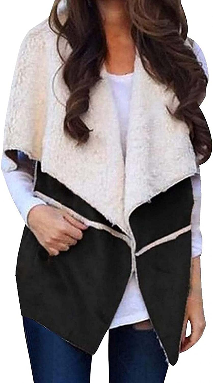 Women's Hooded Vest Sherpa Cardigan Fleece Open Front Cardigan Solid Color Jacket Sleeveless Lapel Loose Vest Coats