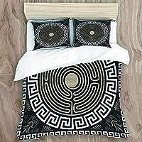 TINZZEROS 布団カバー4点セット (掛け布団カバー+ボックスシーツ+ピロケース) 極細マイクロファイバー ホワイト 伝統的なヴィンテージの白いギリシャの装飾と波 イプピーチスキン加工 保温 寝具カバーセット ベッド用 布団用(ダブル)
