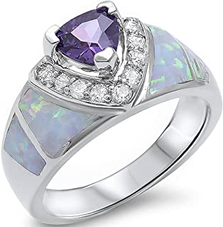 Oxford Diamond Co Simulated Amethyst, Lab Created White Opal, Cz 925 Sterling Silver Ring Sizes 5-10