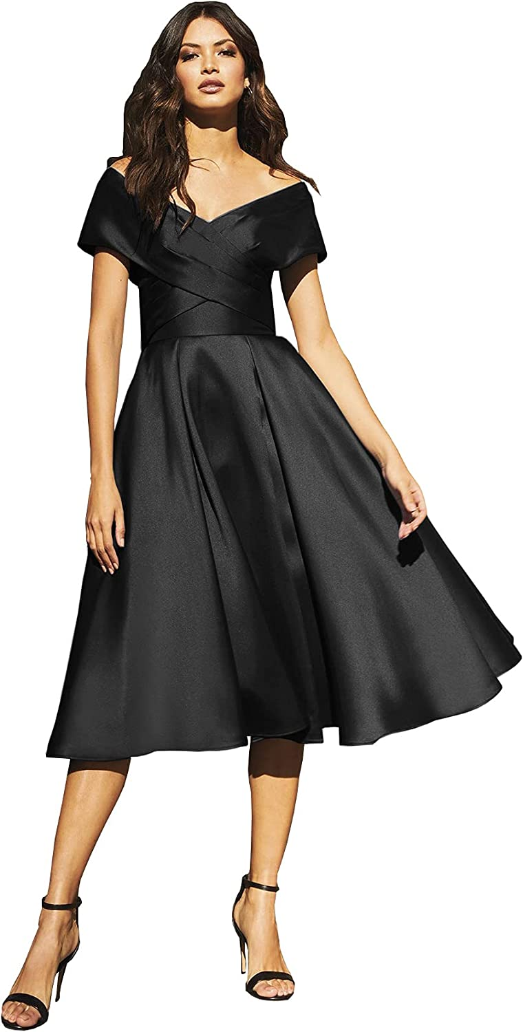 Nicefashion Off The Shoulder A-Line Satin Prom Dress for Women Pleated Formal Gown with Pockets