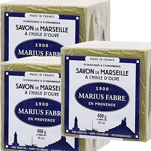 Marius Fabre - SAVON DE MARSEILLE - l'Huile d'Olive Cube de 400 Gr - Lot de 3 Cubes 400 Gr