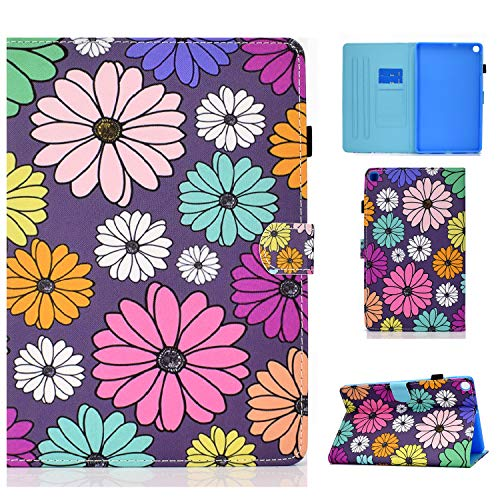 AUSMIX Samsung Galaxy Tab A 10.1 inch T510 Tablet 2019 Case, Slim Fit Premium Leather Folio Smart Stand Case Cover for 2019 Galaxy a 10.1 inch SM-T510/T515 Tablet -Daisy
