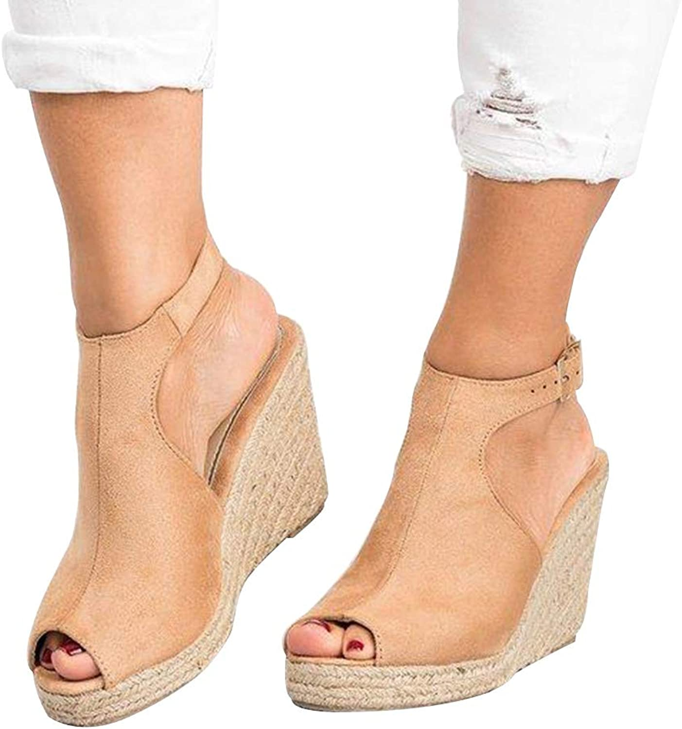 DoraTasia News Summer Women's Slingback Handmade Ankle Buckle Strap Open Toe Sandals Espadrilles Wedges Heel shoes