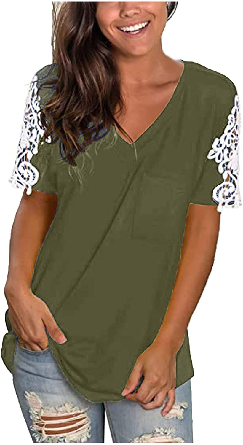 RKSTN Womens Tops Solid T-Shirts Patchwork San Francisco Mall Popular standard Lace Tee Tees V-Neck