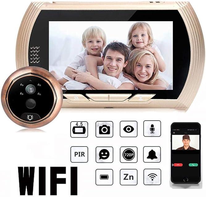 CSDY-Mirilla Digital con Pantalla LCD De 4.5 Pulgadas Cámara De VigilanciaVisor Mirilla Puerta Soporte Vision Nocturna Tomas De Fotos para Seguridad del Hogar