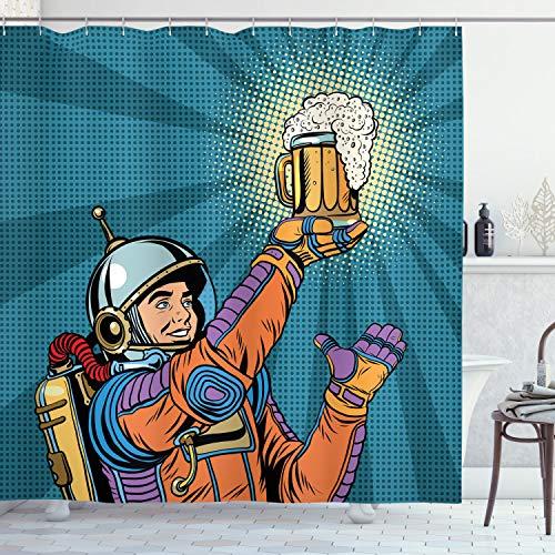 ABAKUHAUS Duschvorhang, Astronaut Welcher im Weltall Bier Findet Retro Hipster Vintage Comic Design als Digital Druck, Blickdicht aus Stoff inkl. 12 Ringen Umweltfre&lich Waschbar, 175 X 200 cm