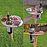 JIEHED Tragbarer Outdoor-Weintisch aus Holz, rund, zusammenklappbar, für Getränke, Garten, Terrasse, kleiner Couchtisch mit faltbarem rundem Schreibtisch, Mini-Holz-Picknicktisch, einfach zu tragen