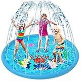 VATOS Sprinkler Play Matte, Splash Pad Wasser-Spielmatte Sommer Garten Wasserspielzeug Kinder Baby Pool Pad Spritzen für Outdoor Garten Familie Party Strand für Kinder 2 3 4 5 Jungen und Mädchen