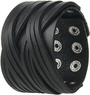 Black /& White F*uck Leather Wristband Cuff Bracelet 2-12 Wide DSBC364-BLK
