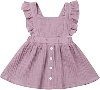 Mubineo Toddler Baby Girl Infant Comfy Cotton Linen Lace Princess Overall Dress Sundress