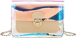 Mllkcao Damen Schultertaschen, Frauen Mädchen Transparente Strand-Handtaschen mit Drehverschluss, Schulter Messenger Mini ...
