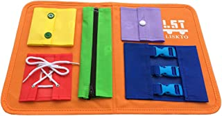 Busy Board Dress Learning Toys for Fine Motor Skills & Learn to Dress, Basic Life Skills Sensory Board, Learn to Zip, Snap, Tie Shoe Laces and Buckle (Type1, Orange)