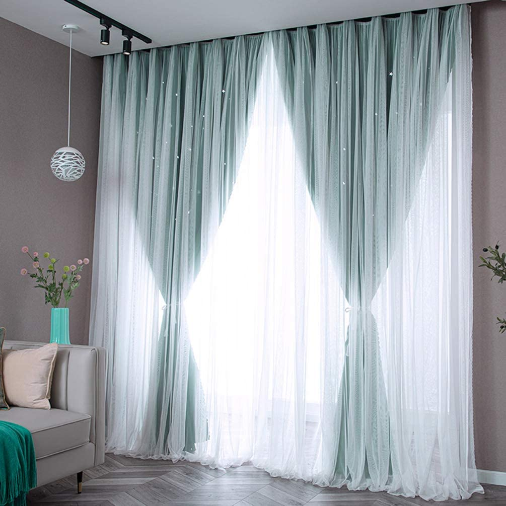 Double-deck Openwork Stars Blackout Sheer Voile Luxury Manufacturer regenerated product Curtain
