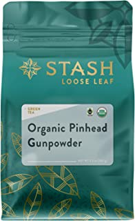 Stash Tea Organic Pinhead Gunpowder Green Loose Leaf Tea 3.5 Ounce Pouch (Packaging May Vary) Fair Trade Certified Premium Green Tea for Infusers or Strainers, Drink Hot, Iced, Sweetened or Plain