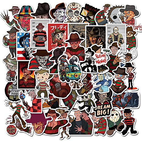 BLOUR 50PCS / Set Horrorfilm Freddy Krueger Aufkleber Cartoon Bild Pegatina für Laptop Telefon Gitarre PS4 Skateboard Wasserdichter Aufkleber