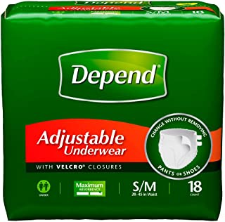 Depend Adjustable Underwear, Small/Medium, 18-Count Packages (Pack of 4)
