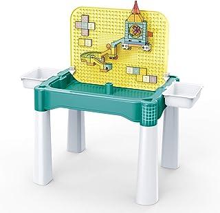 طاولة أنشطة الأطفال الصغار، طاولة بناء تعليمية 5 في 1 مع صندوقين تخزين، طاولة مكعبات بناء من بانباو، مكعبات أطفال كبيرة له...