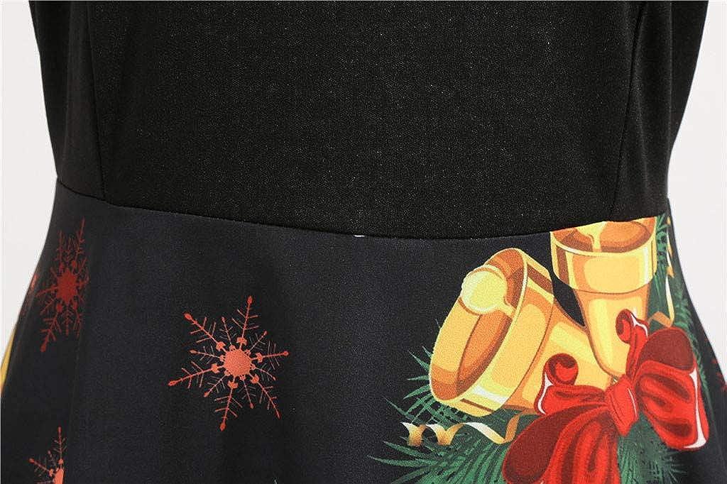 Leey Damen Weihnachten Kleider Langarm Weihnachtskleid Vintage Hepburn Cocktailkleid Weihnachten Druck Partykleid Weihnachtskleider Frauen Geschenk Abend Party Swing Kleid Dress