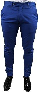 Pantaloni Uomo sartoriali Blu Micro Fantasia Casual Elegante Slim Fit Invernale