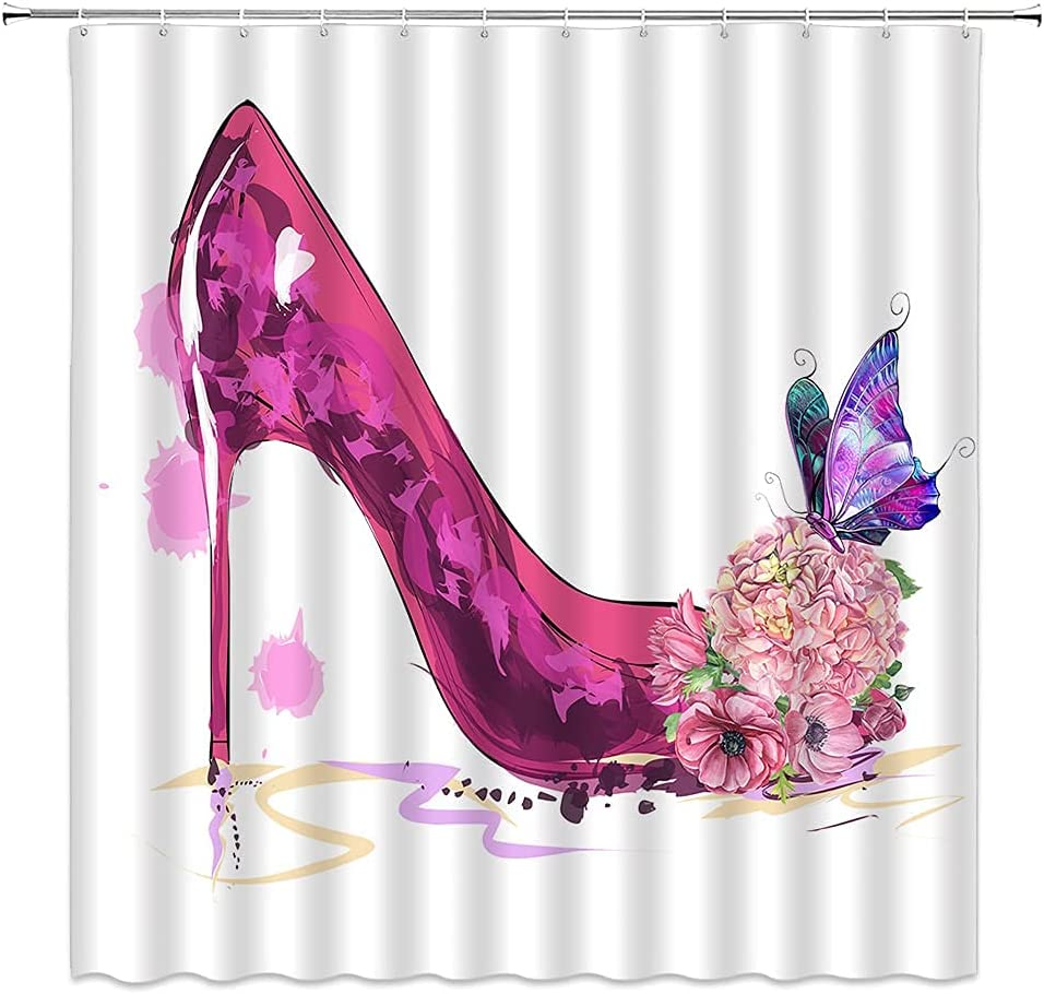 High Heels Shower Curtain Pink Flower Purple Butterfly Elegant and Charming Beautiful Girl Diva Shower Curtain Watercolor Romantic Creative Fashion Bathroom Home Decoration Polyester with Hook