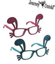 BCL Happy Easter (Bonus Exclusive ROSITALYN Clip) Easter Bunny Costume Glasses Pink Bunny Eyeglasses Easter Costume Accessory Glitter Rabbit Glasses Set of 2