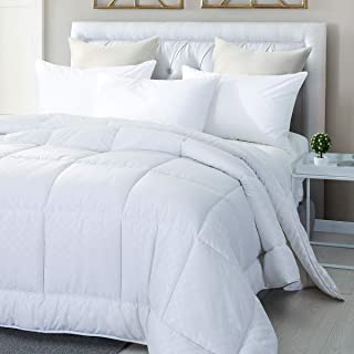 Premium Embossed Polyester Down Alternative Overfilled Comforter / Duvet Insert with 4 Corner Tabs - 100% Hypo allergenic Polyfill - Luxury Fluffy Hotel Collection for All Season-King Size