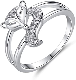 HYLJZ Anello Fashion New Silver Color Fox Ring for Woman AAA Zircon Cute Animal Jewelry Engagement Wedding Ring Valentine'...