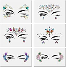 Festival face jewels Tattoo, Udyr 6 Sets Rhinestone Crystal Gem Stones Temporary Sticker Tribal Style 3D body Face And Eye Jewels Forehead Stage Decor (set 1)