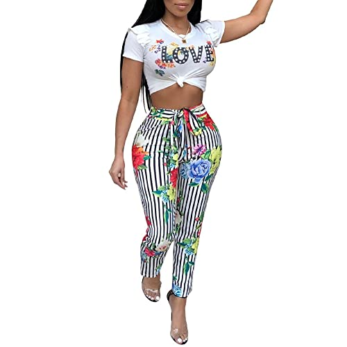 251ac19c79fa Ophestin Womens Letter Floral Print Ruffle Belted Bodycon 2 Piece Outfits  Crop Top Stripe Pants Set