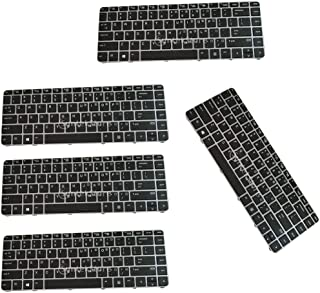 Blesiya 5 Pieces Laptop Keyboard Replacement Parts US W/Silver Frame for EliteBook