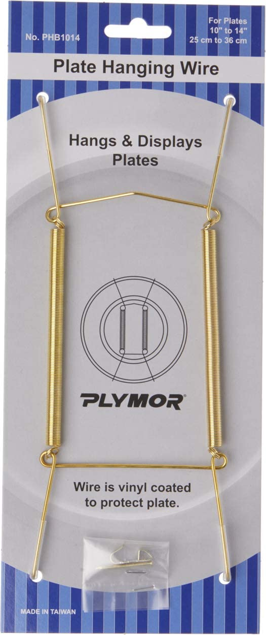 8 H x 3 W x 0.5 D 2 Pack Plymor Shiny Gold Finish Wall Mountable Plate Hanger for Plates 10-14