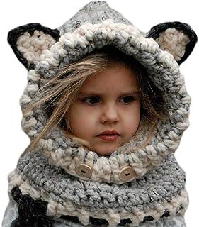 YULOONG Kids Knitted Hat Autumn Winter Cute Children?s Fox Cat Wool Hat Hand-Woven Warm Earmuffs Cape Caps Unisex Gray Medium