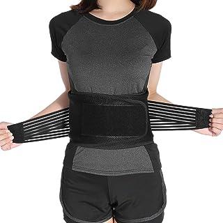 Cinturón de soporte lumbar para la espalda para el alivio del dolor de espalda baja y la prevención de lesiones Faja lumbar ajustable y paneles de malla transpirable (XL)