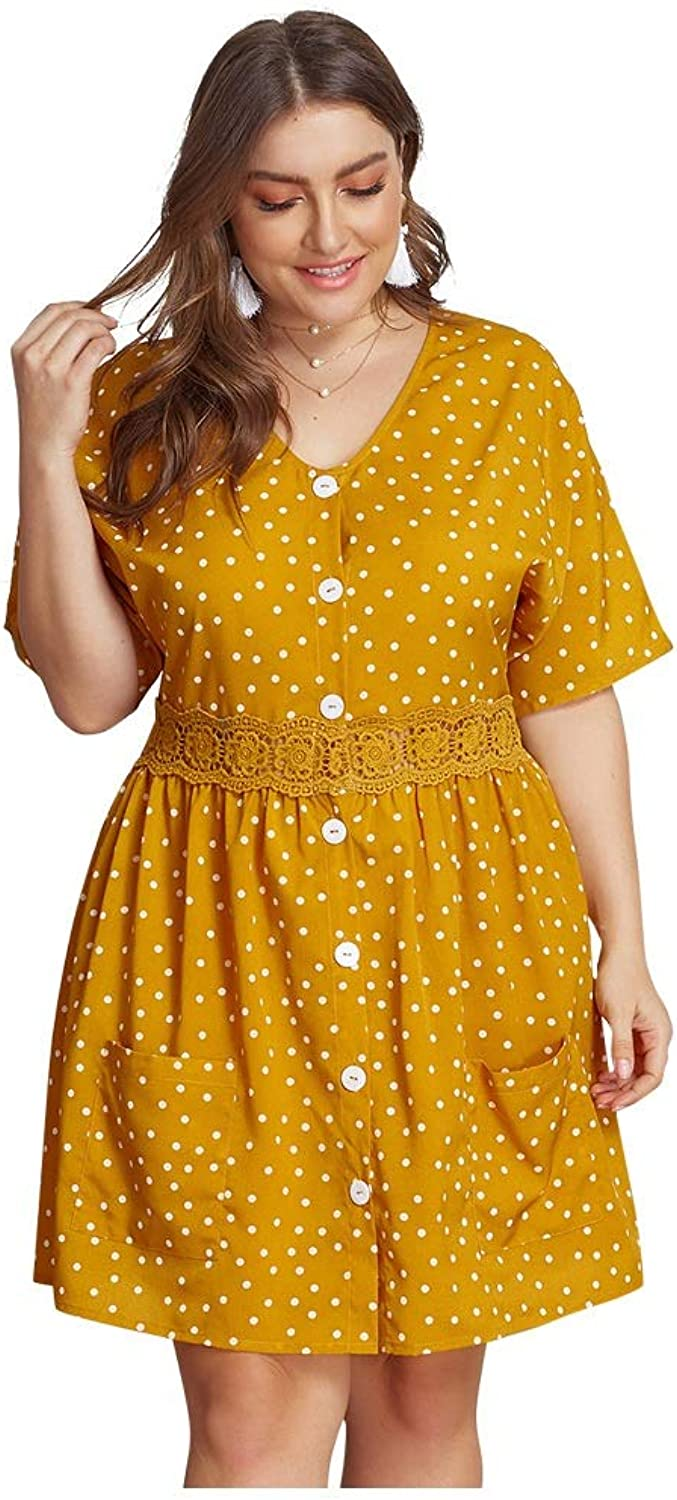 CARRY Dresses, European and American Summer Cocktails, Women's Polkadot VNeck Ladies Dress (Size   1xl)
