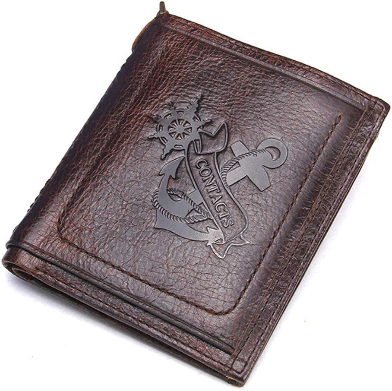 Hinyyee Herren Kurze Geldbörse Rindsleder Kartenpaket Multi-Funktion Bifold Geldhalter Retro Tasche B07PKKY5BQ