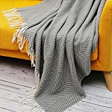 Neomo Herringbone Decorative Blanket Throw with Faux Cashmere Fringe 50 x 60 Inch - Soft Warm Cozy Lightweight for Couch, Bed, Sofa, Office, Car, Indoor, Outdoor, Gray and White