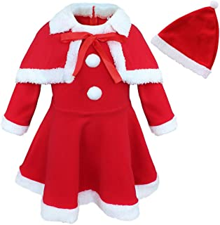 JEATHA Baby Girls Long Sleeves Skirt with Shawl Hat Set Christmas Santa Claus Lovely Dress Up Costume