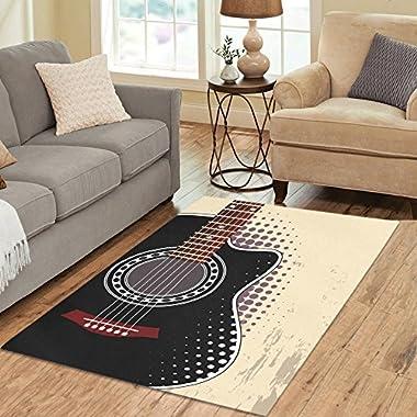 Gogogosky Home Decorate Floor Custom Rectangle Black Acoustic Guitar Area Rug Floor Rug Room Carpets 5'3''x4'