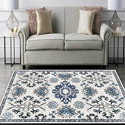 Alfombra europea y americana geométrica media mar azul gris sala de estar dormitorio alfombra mesita de noche alfombra azul gris_140 x 200 cm