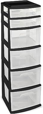 HOMZ Plastic 6 Drawer Medium Storage Tower, Black Frame, Clear Drawers, Set of 1